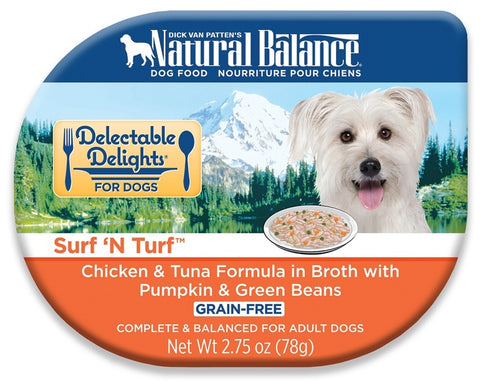 Natural Balance Delectable Delights Surf n Turf Grain Free Chicken and Tuna Formula in Broth with Pumpkin and Green Beans Wet Dog Food