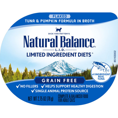 Natural Balance L.I.D. Limited Ingredient Diet Flaked Tuna & Pumpkin in Broth Cat Food Cup