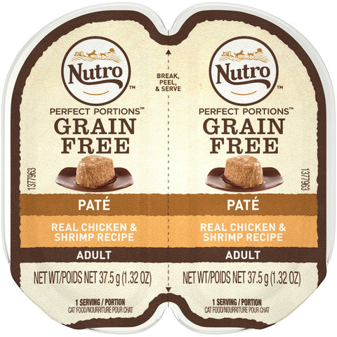 Nutro Perfect Portions Adult Grain Free Chicken and Shrimp Pate Wet Cat Food Trays