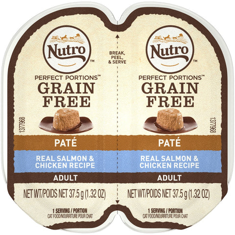 Nutro Perfect Portions Adult Grain Free Salmon & Chicken Pate Wet Cat Food Trays