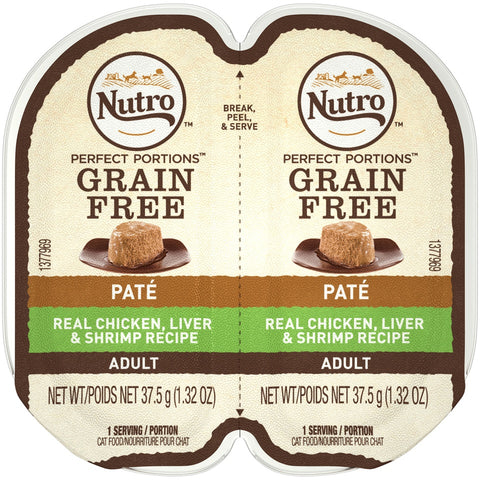 Nutro Perfect Portions Adult Grain Free Chicken, Liver & Shrimp Pate Wet Cat Food Trays