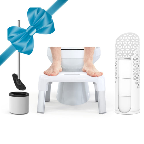 Toilet Bundle: SMART 4 Multi-Purpose Bathroom Stool; LOOEEGEE Hygienic Toilet Squeegee; ROLLO Hexacube Toilet Tissue Reserve Matte White - Better Living Products USA