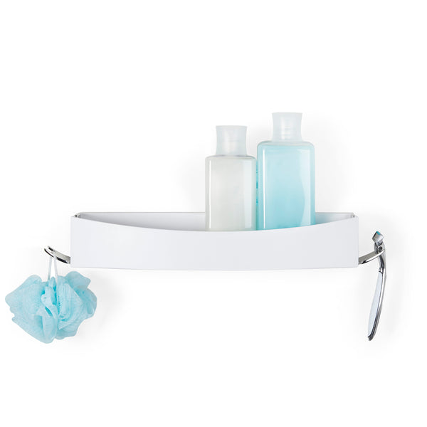Shower Bundle: CLEVER Double Dispenser; CLEVER Flip Shower Shelf; DELUXE Squeegee Chrome; VISO Frameless Shower Mirror - Better Living Products USA