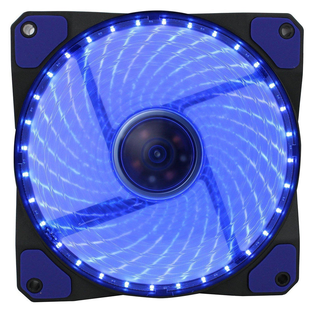 Evo Labs Vegas 12cm 9 Blade 32 x LED Blue Fan 1000rpm with Rubber Grommet-Case Fans-Gigante Computers