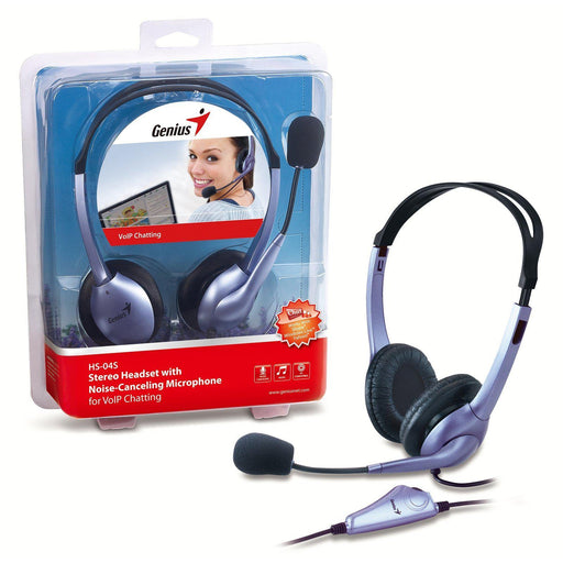 Genius HS04S Headset With Noise-Cancelling Microphone-Headsets-Gigante Computers