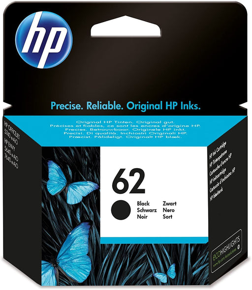 HP 62 (Yield: 200 Pages) Black Ink Cartridge-Ink Cartridges-Gigante Computers