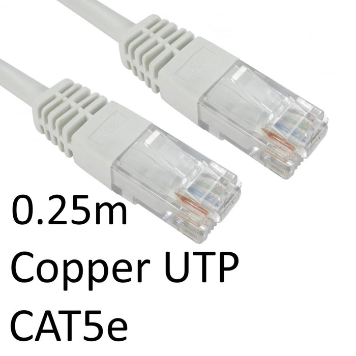 RJ45 (M) to RJ45 (M) CAT5e 0.25m White OEM Moulded Boot Copper UTP Network Cable-Network Cables-Gigante Computers
