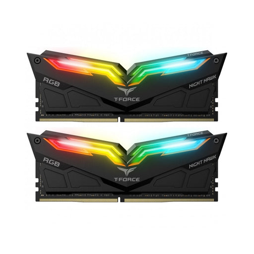 Team NIGHT HAWK RGB 16GB Black Heatsink with RGB LEDs (2 x 8GB) DDR4 3000MHz DIMM System Memory-System Memory-Gigante Computers