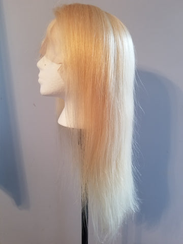 Blonde Straight Brazilian Virgin Human Hair Bleached Knots with Natural Hairline Wig