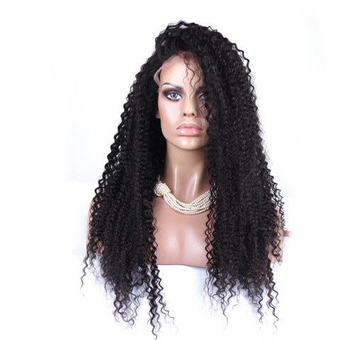 Kinky Curly Brazilian Virgin Human Hair Bleached Knots with Natural Hairline Wig