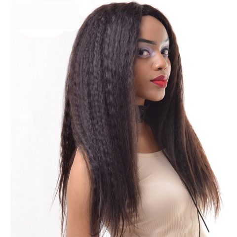 Kinky Straight Brazilian Virgin Human Hair Bleached Knots with Natural Hairline Wig