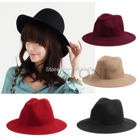 Vintage Ladies Women Wool Felt Fedora Cap