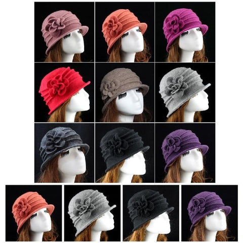 Fashion Women Wool Flower Hat