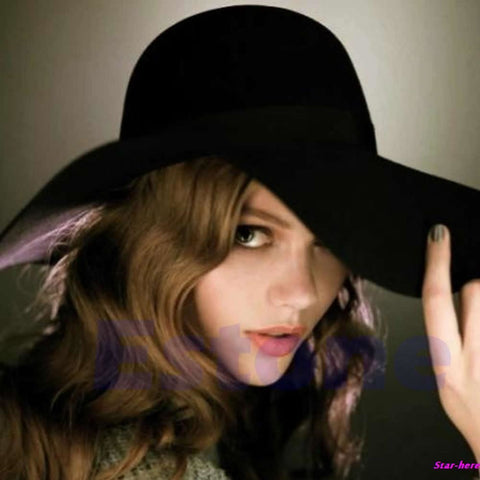 Vintage Women Lady Wide Brim 100% Wool Felt Bowler