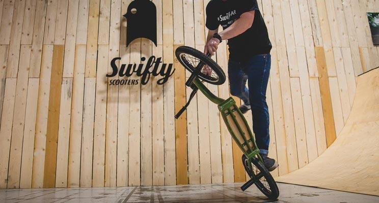 Matti Hemmings with Swifty Scooters at the Bike Expo