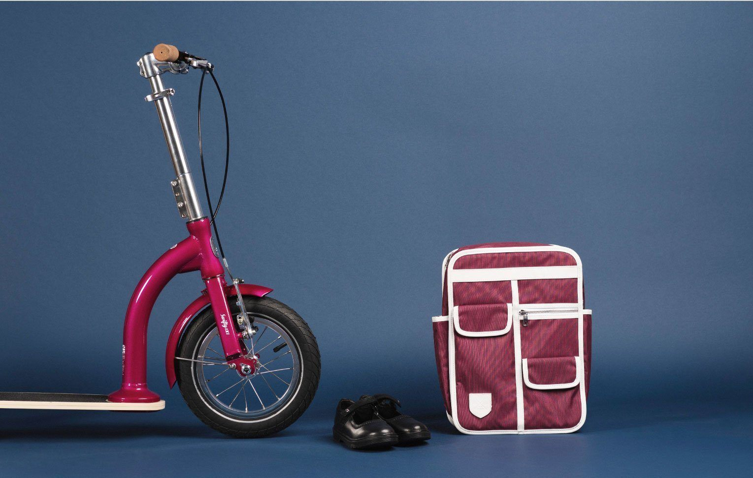 back to school big wheel kids scooter and backpack