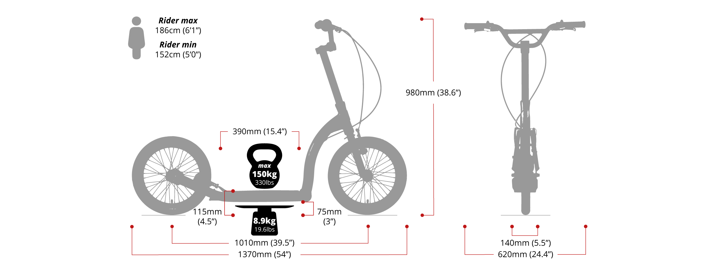 Adult Scooter | SwiftyAIR dirt scooter with 16 inch wheels (Mount Snowdon)
