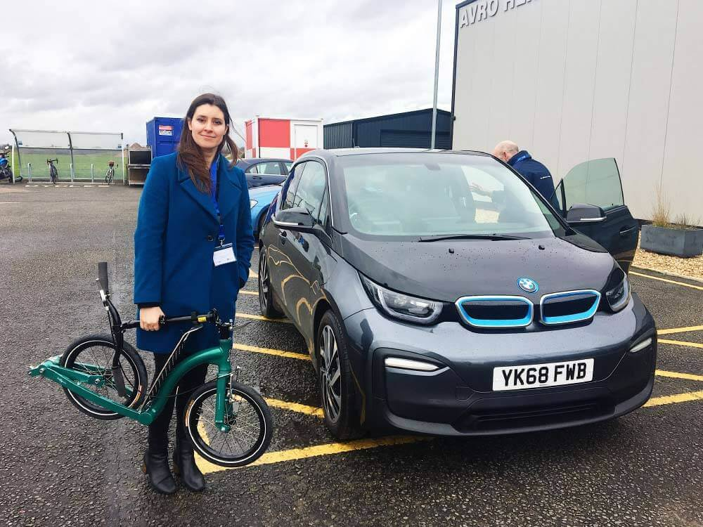 BMW i3 Range Extender, ev and kick scooter, park and ride electric car