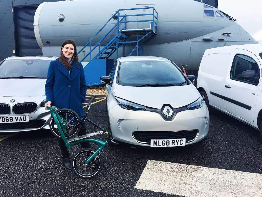 Renault Zoe electric car and swifty scooters kick scooter for adults