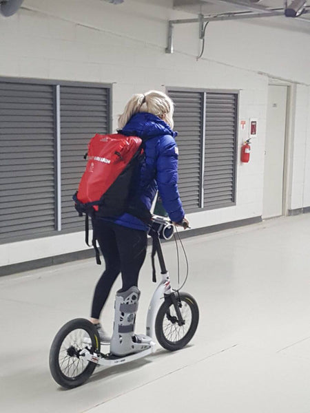 Elise Christie, scooter recovery, big wheel scooter