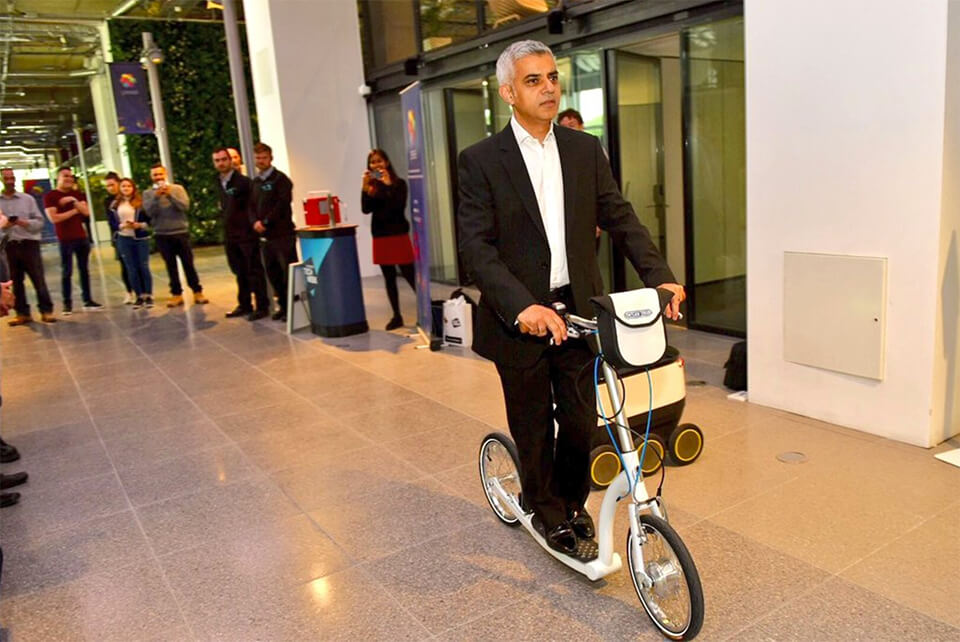 sadiq khan scooter, mayor of london, big wheel scooter for adults