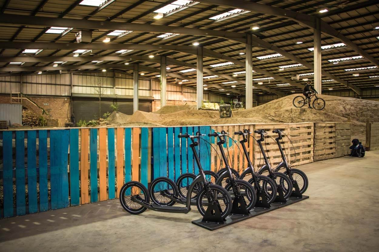 adult scooter fleet for outdoor activity centres, dirt scooter fleet, bmx scooter fleet, dirt factory manchester