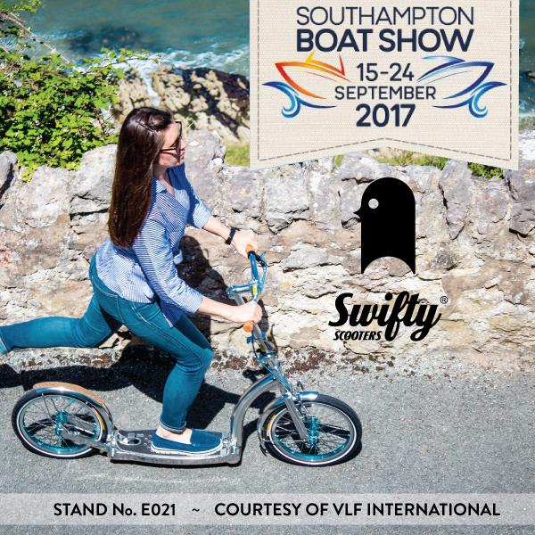 swifty scooters at southampton boat show, premium scooter for adults, adult kick scooter with big wheels