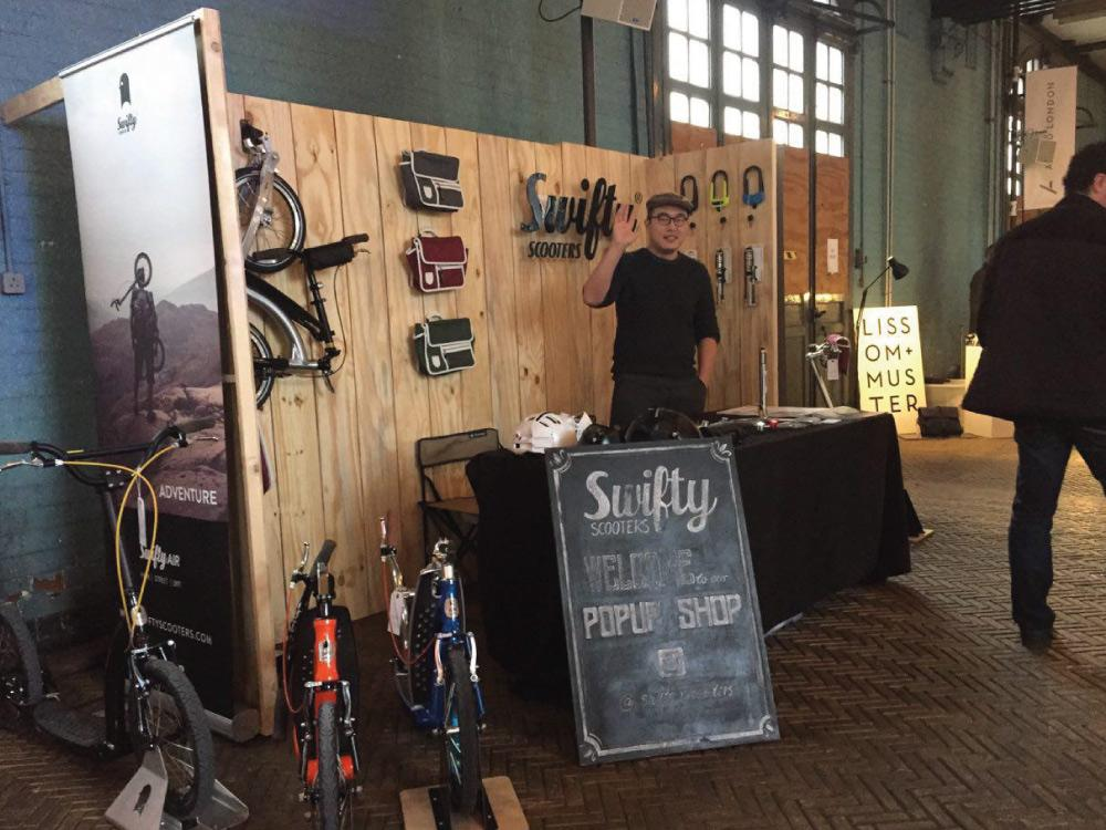 adult scooter uk, swifty scooters pop up shop, foldable scooter