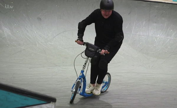 coronation street scooter, colson smith escooter, big wheel electric scooter