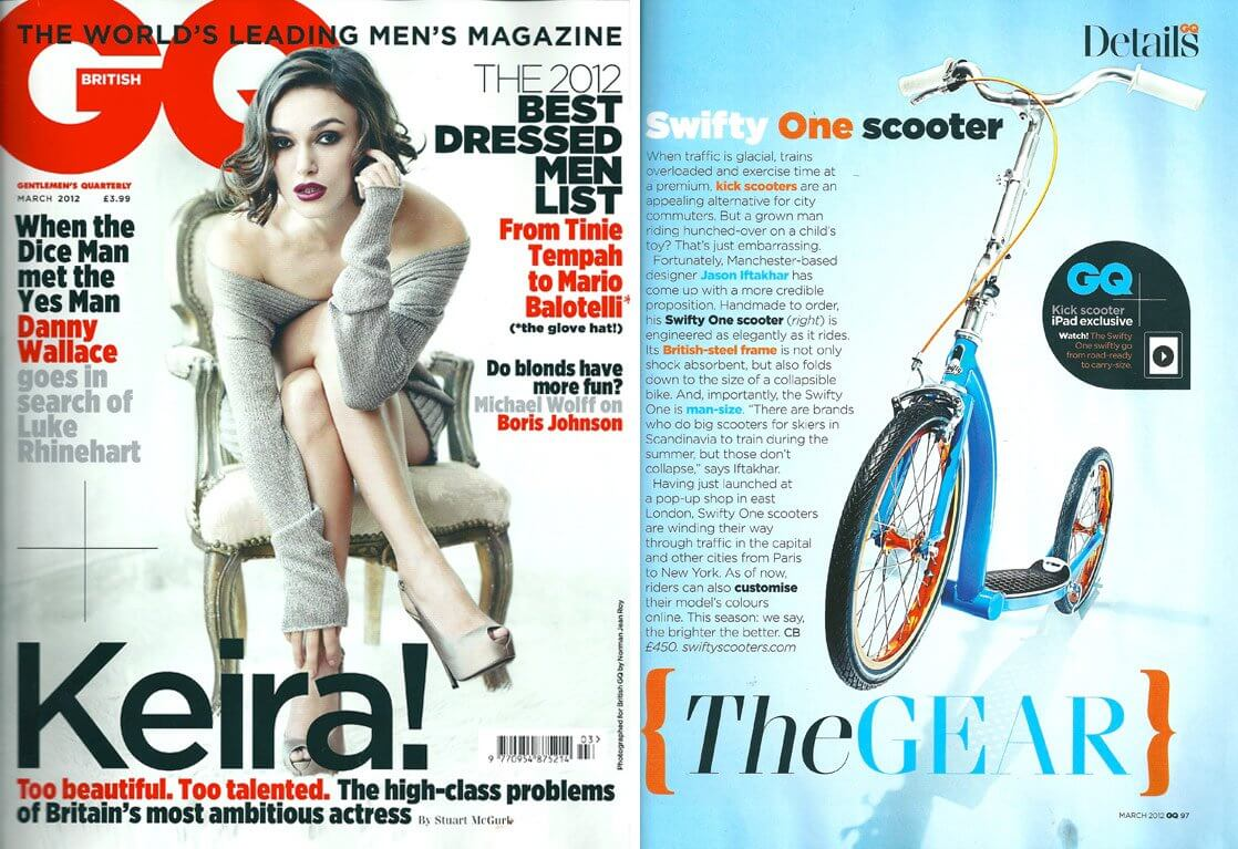 swifty scooters folding adult scooter in GQ magazine