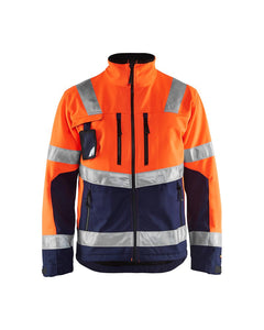 Blåkläder softshell jakke varsel kl. 2, orange/marineblå