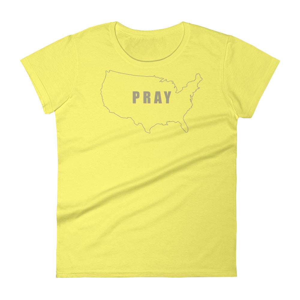 PRAY for the USA T Shirt - Women's Short Sleeve Christian T-Shirt