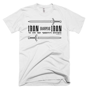 Iron Sharpens Iron Proverbs Quote - Mens White Christian T-Shirt