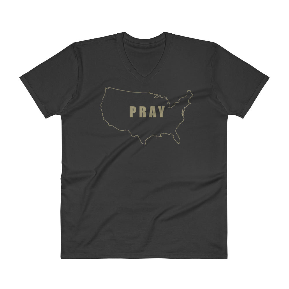 PRAY for the USA T Shirt - Mens V-Neck White Christian T-Shirt