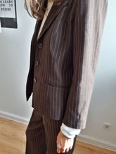 BROWN PINSTRIPE SUIT | cropped straight cut pants |  M:[Past out]:[vintage clothes]