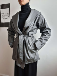 90s MATTE SILVER PVC TRENCH COAT |M:[Past out]:[vintage clothes]