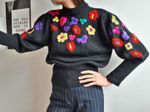 EMBROIDERED MOCKNECK SWEATER | Puff sleeve | M:[Past out]:[vintage clothes]