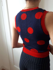 70s KNIT VEST | polka dot | XS/S:[Past out]:[vintage clothes]