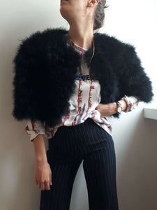 FEATHER FLUFFY JACKET | Bolero | M/L:[Past out]:[vintage clothes]