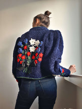 CHENILLE BLAZER | embroidered | puff sleeve | M:[Past out]:[vintage clothes]