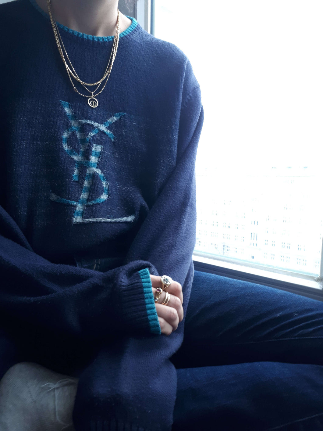 YSL SWEATER | Yves Saint Laurent | Oversized | M - L:[Past out]:[vintage clothes]