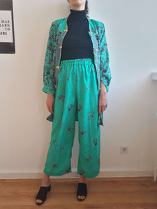 BLAZER + PANTS SET | turquoise green | S/M:[Past out]:[vintage clothes]
