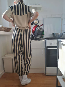 SHIRT + PANTS SET | striped | M:[Past out]:[vintage clothes]