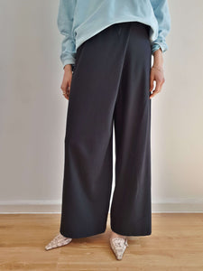90s SISLEY PINSTRIPE PANTS | asymmetric - one leg wider | S/M:[Past out]:[vintage clothes]