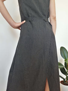 PINSTRIPE DRESS | S/M:[Past out]:[vintage clothes]