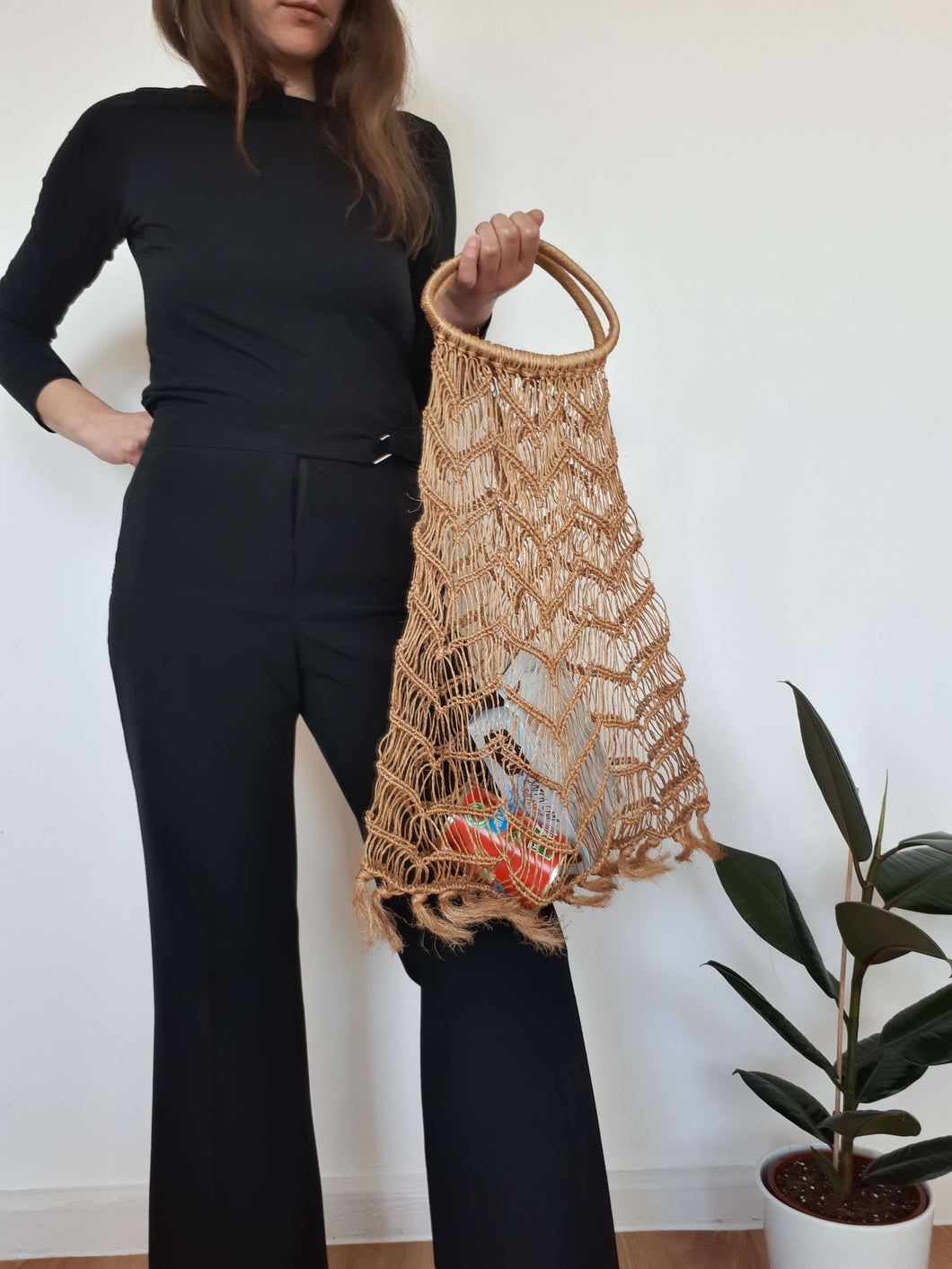 70s STRAW BAG | groceries bag:[Past out]:[vintage clothes]
