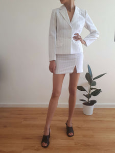 Y2K WHITE PINSTRIPE SUIT | blazer + skirt | XS/S:[Past out]:[vintage clothes]