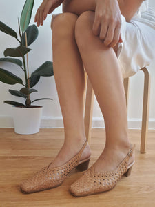 WOVEN SLINGBACK PUMPS | kitten heel | 40:[Past out]:[vintage clothes]