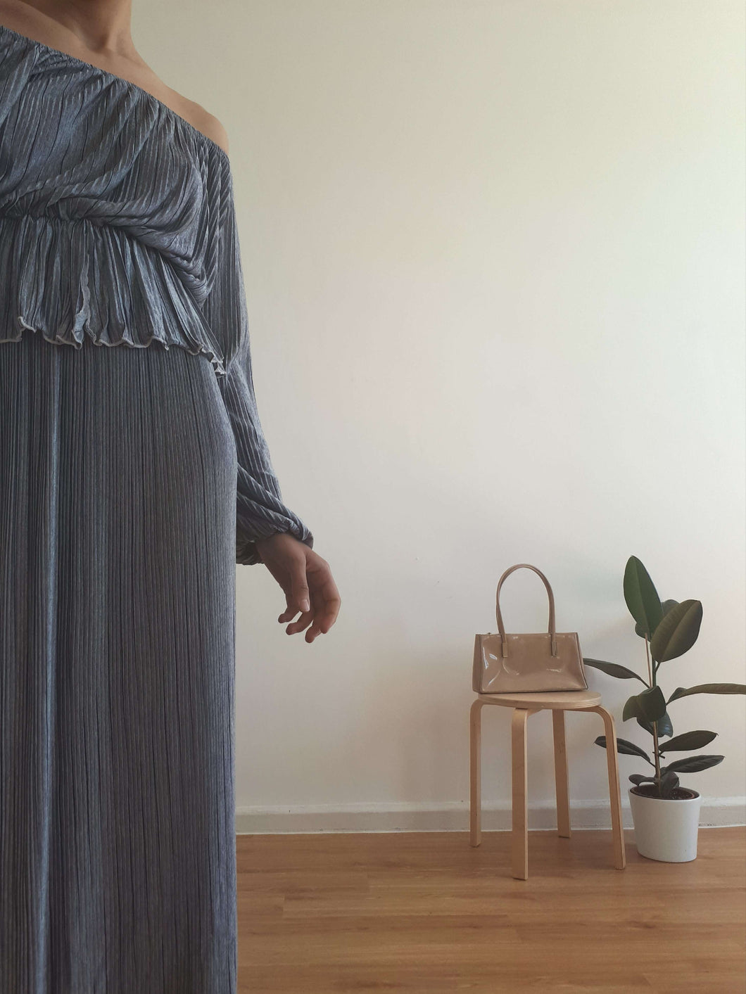80s MAXI DRESS | silver | S/M:[Past out]:[vintage clothes]