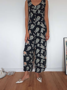 FLORAL JUMPSUIT | S/M:[Past out]:[vintage clothes]